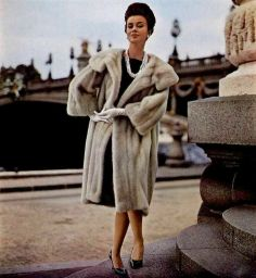 Model in Tourmaline EMBA mink coat by Max Fourrures, photo by Jacques Decaux, 1961