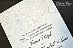 Baroque Letterpress PRINTED wedding invitation. Shown with 1 color Pearl Foil and 1 Color Letterpress printing - DEPOSIT