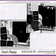 Cindy's Layered Templates - Half Pack Photo Focus 22 by Cindy Schneider Scrapbook Templates, Scrapbook Sketches, Photo Focus, Digital Scrapbooking, Fun Crafts, Packing, Cards Against Humanity, Memories, Make It Yourself