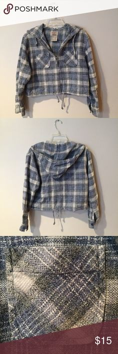 Vintage Cropped Flannel Zip Up Super cute cropped vintage flannel pullover with a half way zip up. Fits a small or extra small. Great condition. Two open pockets on the sides and adjustable strings at the waist. I'm guessing 90s. Let me know if you have any questions!  Vintage Tops Sweatshirts & Hoodies