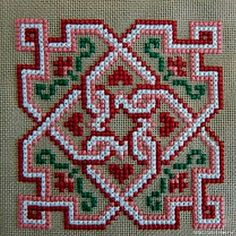 This Pin was discovered by Cec Biscornu Cross Stitch, Cross Stitch Cards, Cross Stitch Borders, Cross Stitch Rose, Simple Cross Stitch, Cross Stitch Designs, Cross Stitching, Cross Stitch Patterns, Hungarian Embroidery