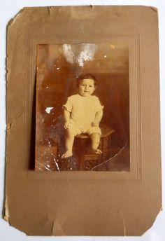India 1930s Vintage Photo Child on Chair mounted on cardbord #p10