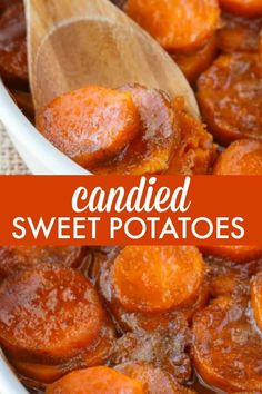 Candied Sweet Potatoes – An easy side dish recipe that tastes like a dessert. Te… Candied Sweet Potatoes – An easy side dish recipe that tastes like a dessert. Tender sweet potato rounds are covered in a rich, buttery glaze. Sweet Potato Side Dish, Potato Sides, Potato Side Dishes, Side Dishes Easy, Vegetable Dishes, Side Dish Recipes, Vegetable Recipes, Simple Sweet Potato Recipes, Canned Sweet Potato Recipes