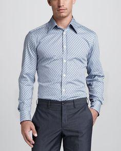 Versace Collection Trend-Fit Cotton Suit & Zigzag-Print Sport Shirt - Neiman Marcus