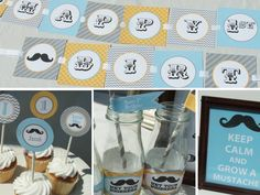 Mustache Birthday Decorations children adult baby first 1st vintage printable package