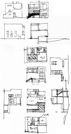 Elevational + developmental studies after Adolf Loos's Villa Moissi [Eileen Gray / 1923]