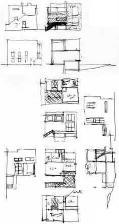 Elevational + developmental studies after Adolf Loos's Villa Moissi [Eileen Gray / 1923]