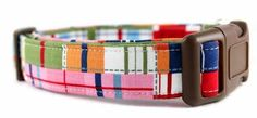 Bow Wow Couture Dog Collar in Madras Plaid available at www.ZoePetSupply.com
