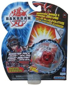 """Bakugan Booster Pack (Bakugan May Vary) by Bakugan. $4.95. These small spheres magnetically morph into powerful Bakugan warriors when they roll onto the real metal Gate Cards. Use strategy to place your metal Gate Cards effectively as each card affects the battle differently. Includes one Bakugan marbles/action figures and one metal card. Figures measure 1 """". Answer the call to brawl and decide the fate of the galaxy! Roll the marble onto the metal Gate Card, and ..."""