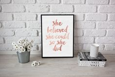 Inspirational Print She Believed She Could So by FleurtCollective