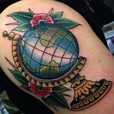 Globe tattoo done by fredy ricca