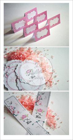 Adhesivos para Envases. Shabby Chic. #shabby #flores #vintage #stickers #carpitas indicadoras #pink