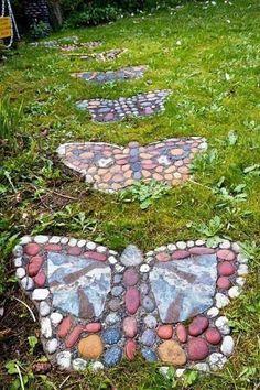 River rock butterfly garden stepping stones