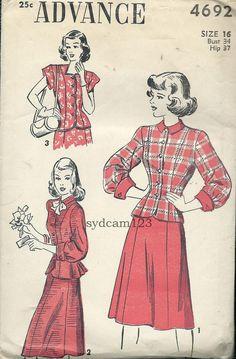 Vintage 1947 Princess Seamed Blouse/JacketGored by sydcam123, $14.00