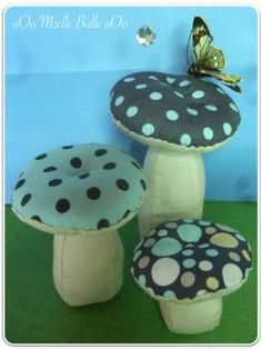 champignon, champignons, tissu, couture, patron, tuto, Mzelle, Bulle, Mzelle Bulle, confection, réalisation, marie claire idées, mci, couture, idée, déco, tendance, Diy Arts And Crafts, Xmas Crafts, Crafts To Make, Diy Crafts, Fairy Room, Hawaiian Quilts, Mushroom Art, Fete Halloween, Couture Sewing
