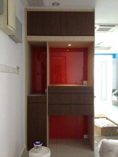 #altar #simple #woodwork #goldencarpentry #malaysia #praying #cabinet #red #lightwood #darkwood Mandir Design, Pooja Room Design, Altar Design, Door Design, Art Deco Wallpaper, Pooja Rooms, Cabinet Design, Dark Wood, Interior Ideas