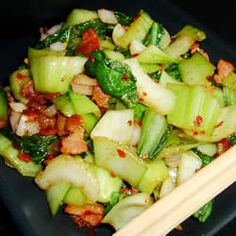 Bacony bok choy salad-we make this at home, so easy, and sooo good. First try at cooking something with bok choy. Always up to try new things