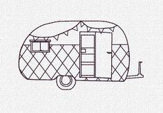 Retro Camper Machine Embroidery Pattern Design Instant Download 4x4 5x7 Modern Redwork