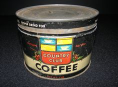 Vintage Kroger Grocery Country Club Coffee Tin Can - 1930's - from DustyMillerAntiques