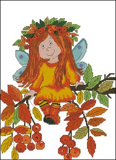 autumn fairy. Scheme with and without Bey, 120 to 150 crosses, 20 colors, the cross in one and two threads, half-cross.
