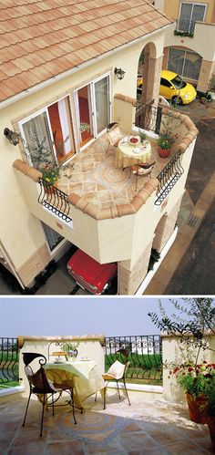 2 階のリビングに繋がる見晴らしの良いルーフバルコニー。床はスペイン直輸入の絵タイルです。|テラス|デザイン|ナチュラル|タイル|インテリア| Outdoor Spaces, Outdoor Decor, Backyard, Patio, Outdoor Gardens, Terrace, Balcony, Interior, Table