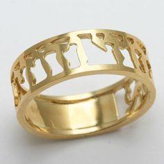 Yellow Gold Ani Le Dodi Jewish Wedding Band Cut Out Ring - JewelryJudaica Cute Jewelry, Jewelry Accessories, Jewelry Design, Men's Jewelry, Jewellery, Unique Jewelry, Rings Pandora, 14 Carat, Grunge