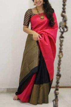 Discover thousands of images about Glorious Pink-Black Colored Soft Silk Party Wear Saree Kerala Saree Blouse Designs, Blouse Designs Silk, Saree Blouse Patterns, Bridal Blouse Designs, Blouse For Silk Saree, Soft Silk Sarees, Bridal Silk Saree, Pattern Blouses For Sarees, Silk Blouses