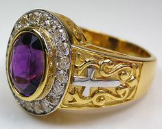 Bishop rings are not only for bishops. You are able to add a bit of mystery to your look with this Amethyst Bishop Ring. It features a real precious amethyst! Bishop Ring, Jewelry Rings, Fine Jewelry, Jewellery, Jewelry Making, Gothic Engagement Ring, Black Gold Jewelry, Christian Jewelry, Amethyst Stone