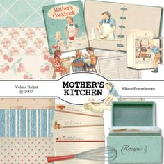 Vintage Kitchen Clip Art Free | Mother's Kitchen in faded reds and greens has a retro look for your ...
