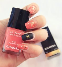 Coral & Glitter Polish with Black Matte Chanel Accent Nail ⋆ BeautyTipsnTricks.com