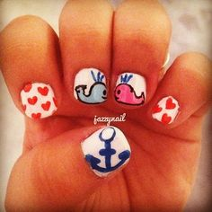 nail art sea blue black white red and pink hearts whales and anchor