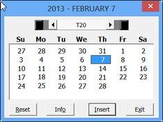 Excel date picker tool - makes worksheet calendars too