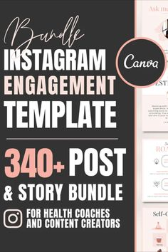 This Instagram bundle is designed for online entrepreneurs (health and wellness coaches, life coaches, fitness coaches) and content creators to help you boost traffic and engagement on your Instagram page. It includes templates to allow you to promote, educate, engage, inspire, entertain and inform your audience.
