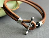 Mens Leather Bracelet Rustic Natural Light Brown Handmade