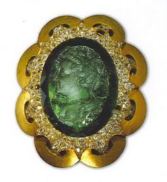 Catherine the Great - a cameo of the great Empress carved into an enormous emerald which is part of the Russian Crown Jewels in the Kremlin Diamond Fund in Moscow.