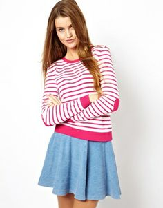 ASOS Striped Jumper With Heart Elbow Patch