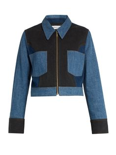 Sonia Ryiel point-collar patchwork cotton-blend denim jacket | Shop NYC Cool Girl Style