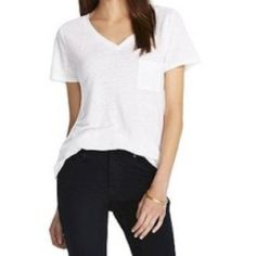 Linen Tee White v neck linen tee Mossimo Supply Co Tops Tees - Short Sleeve