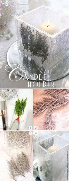 DIY Winter Candle Holder. A gorgeous decor piece for winter weddings that you can make by yourself!
