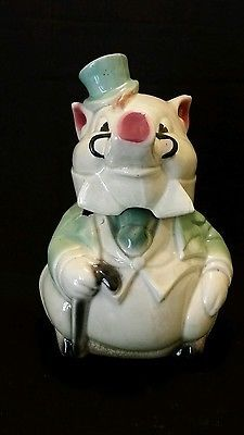 Vintage Brush McCoy Formal Pig In A Green Tuxedo Cookie Jar