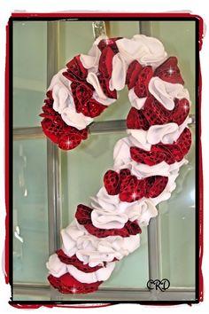 Christmas Candy Cane Door Wreath by CharleeRoseDesigns: Etsy