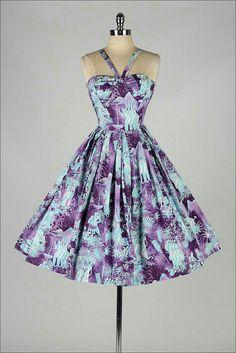 Vintage 1950s dress . blue floral cotton . rhinestones . 3545 ...