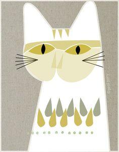 white cat - LARGE mid century design art print