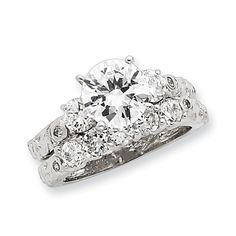 925 Sterling Silver Polished 2 piece CZ Cubic Zirconia Simulated Diamond Wedding Ring Jewelry Gifts for Women - Ring Size Options: 6 7 8 Beautiful Rings, Bridesmaid Gifts, Jewelry Shop, Diamond Jewelry, Wedding Bands, Jewelery, Wedding Ideas, Engagement Rings, Princess Wedding