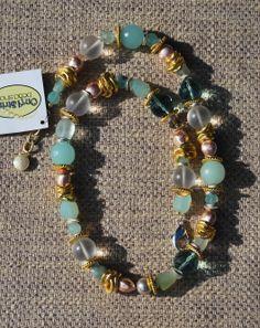 Aqua and Gold Necklace, beadsinc.com