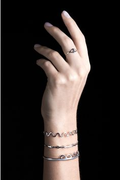 #Semicircles Cuff, #Esses Cuff, #Lines Cuff altogether gives an extraordinary metalic look stacking one by one on your wrist. Find every one of them from http://sofiaramsay.com/shop/?category=Bracelets