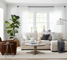 Updating your living room? Shop Pottery Barn for modern and classic living room ideas. Find living room furniture and decor and create the ultimate space. Sheer Linen Curtains, White Curtains, Drapes Curtains, Blue Drapes, Pottery Barn, Furniture Decor, Living Room Furniture, Wooden Furniture, Antique Furniture