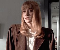 BROTHERTEDD.COM - sarahspaulson: Chloë Sevigny as Jean AMERICAN... Chloe Sevigny, American Psycho, Leather Jacket, Movies, Fashion, Studded Leather Jacket, Moda, Leather Jackets, Films
