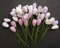 40 - Mixed Purple/Lilac Tone Mulberry Paper Tulip Flowers
