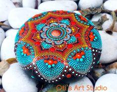 Jewel Mandala Hand-painted by OtisArtStudio Mandala Art, Mandala Painting, Mandala Design, Dot Art Painting, Rock Painting Designs, Painting Patterns, Stone Painting, Mandala Painted Rocks, Mandala Rocks